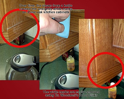 Wood Elixir removes white marks on oak kitchen cabinets caused by steam from a kettle